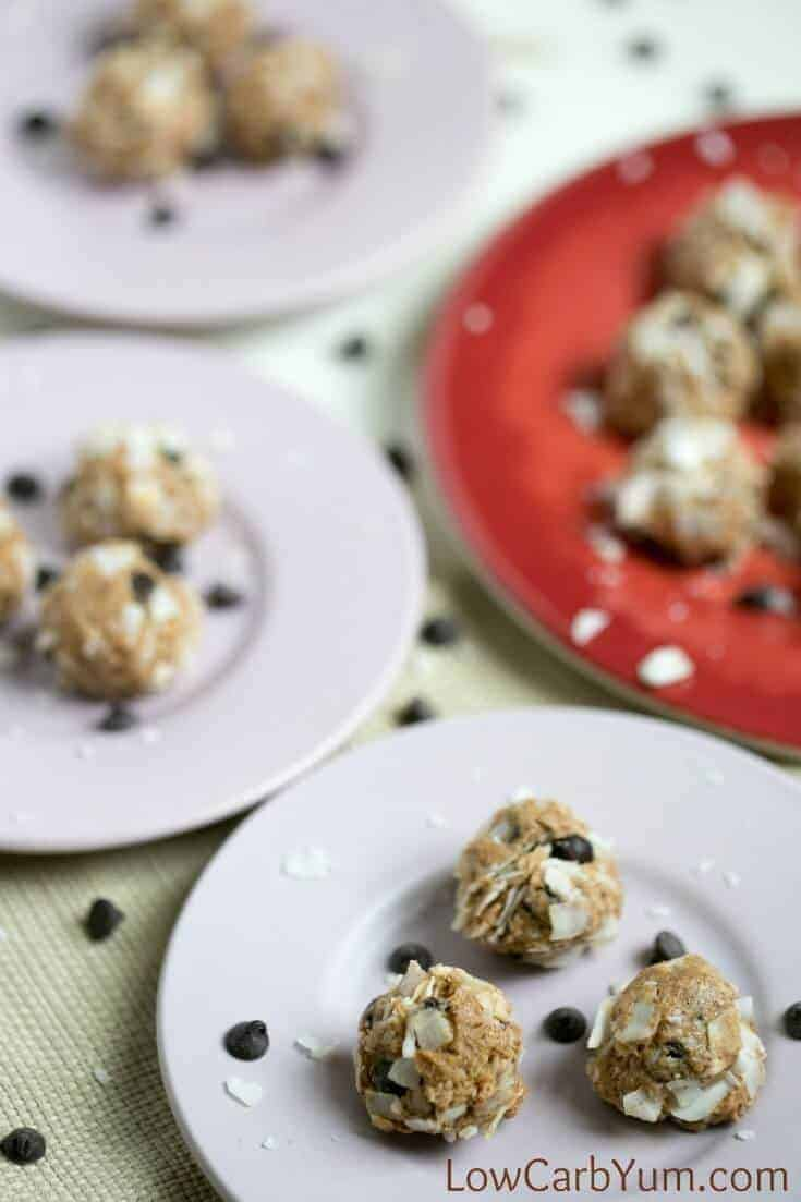 no bake almond butter balls on plates