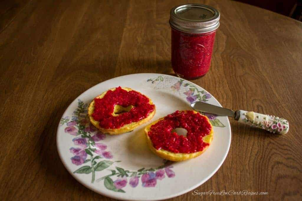 chia raspberry jam on low carb bagel