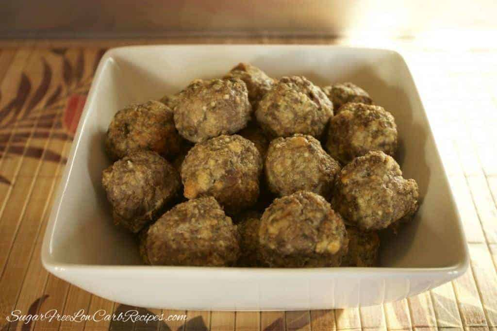 gluten free low carb meatballs in bowl