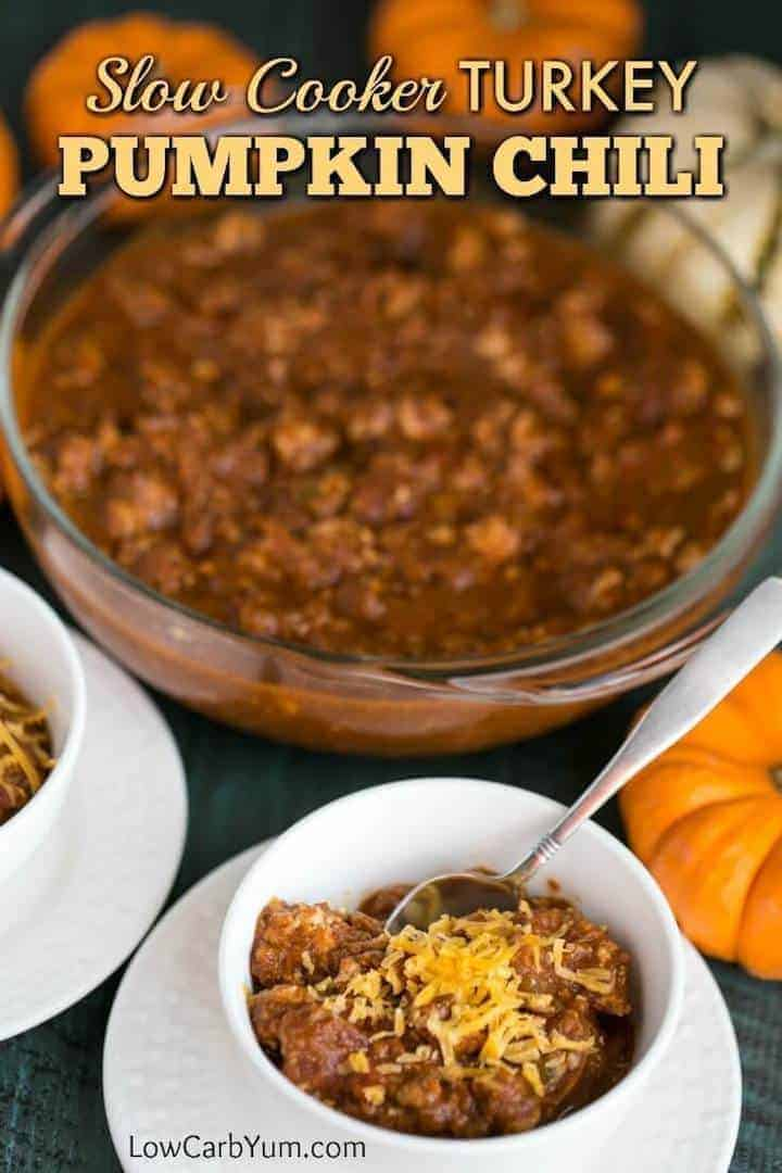 Turkey pumpkin chili in slow cooker