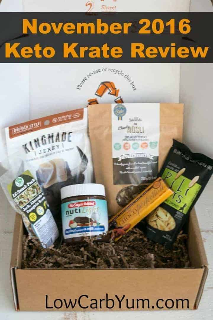 Keto Krate brings low carb keto snacks right to your door each month. This Keto Krate review details the products in the November 2016 box.