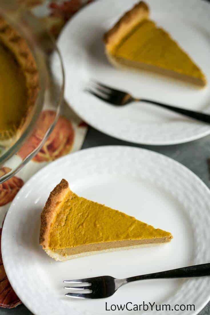 A delicious low carb pumpkin pie recipe that tastes as good or better than a regular high carb one. It's a guiltless treat that can be enjoyed year round!