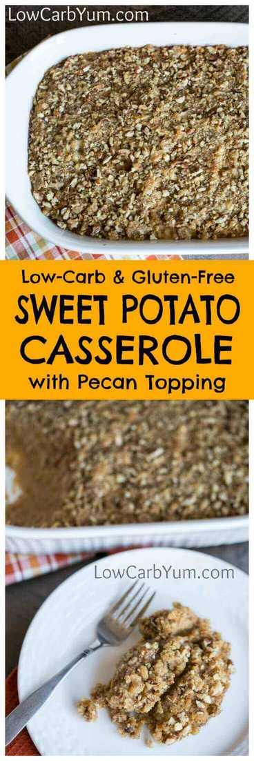 Ditching the carbs? Try this easy low carb sweet potato casserole with a delicious pecan topping. It's perfect for the holidays, or any occasion. | LowCarbYum.com