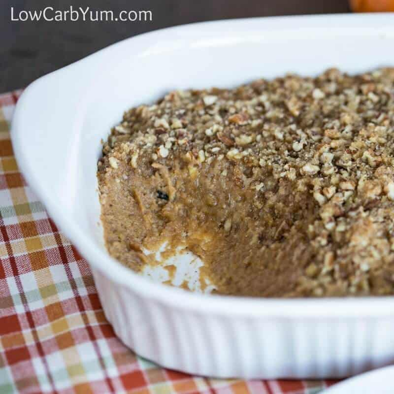 Low carb sweet potato casserole with pecan topping