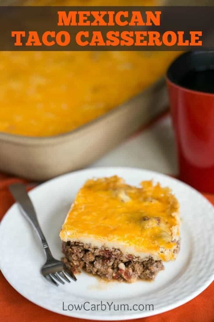A unique low carb Mexican taco casserole bake that's sure to be a winner. It's got a spicy ground meat base topped with a cheesy mashed potato-like topping.