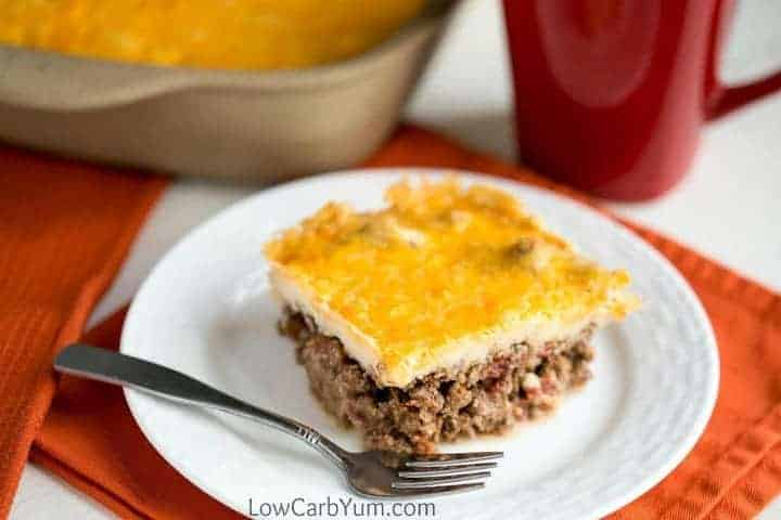 Low carb gluten free Mexican taco casserole bake
