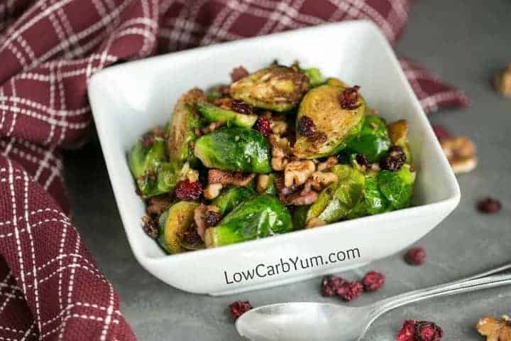 Pan fried brussels sprouts with bacon cranberries walnuts