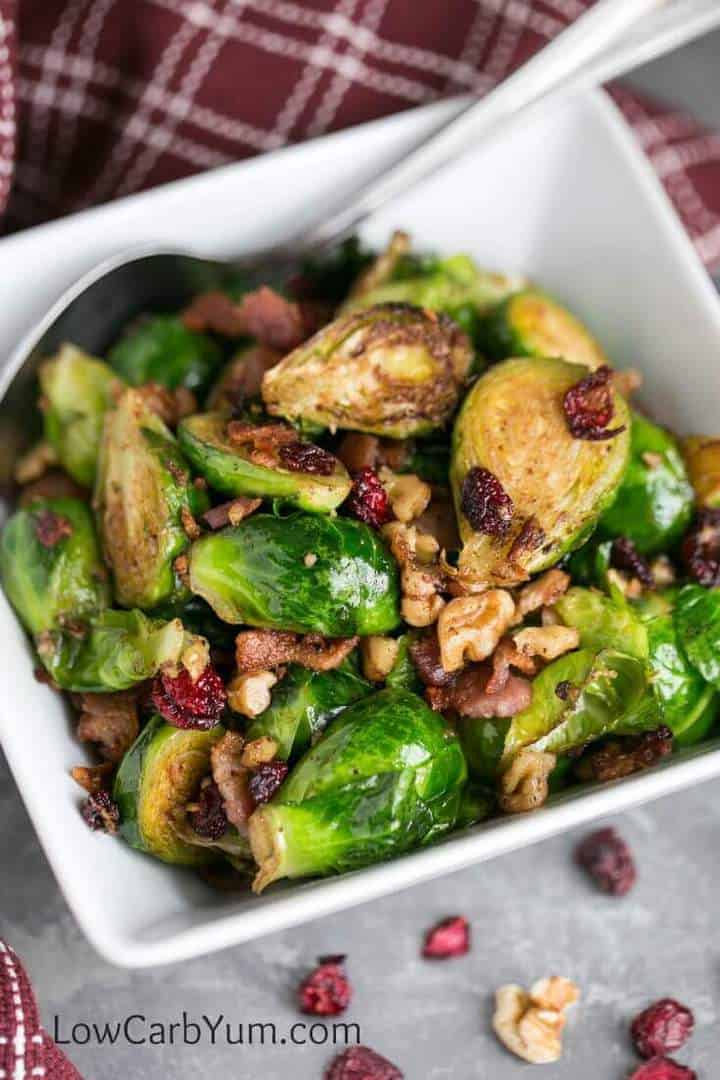 You'll win them over with these delicious pan fried Brussels sprouts with bacon and cranberries. Adding chopped walnuts makes it even better!