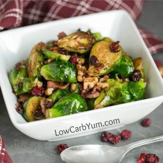 Pan Fried Brussels Sprouts with Bacon and Cranberries