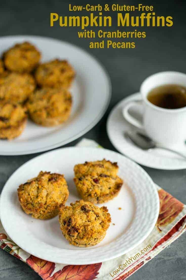 You'll enjoy these tasty low carb pumpkin muffins bursting with cranberries and pecans. These gluten free treats make a terrific morning snack with coffee or tea.