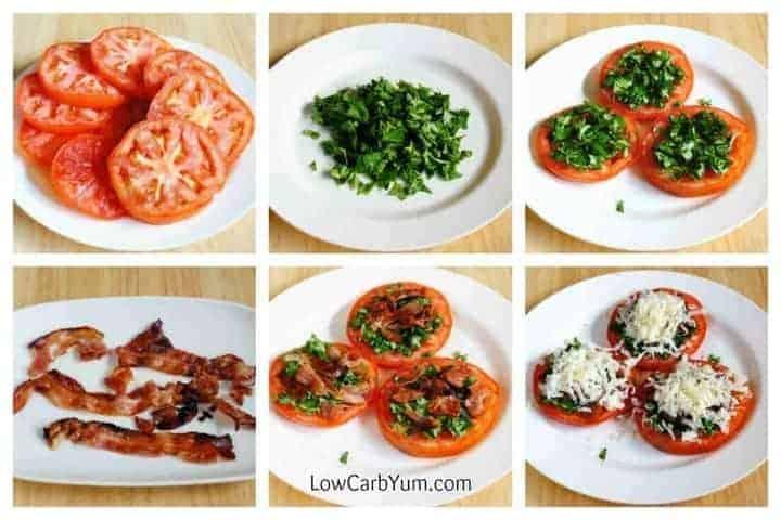 Tomato mozzarella appetizer with Spinach and Bacon
