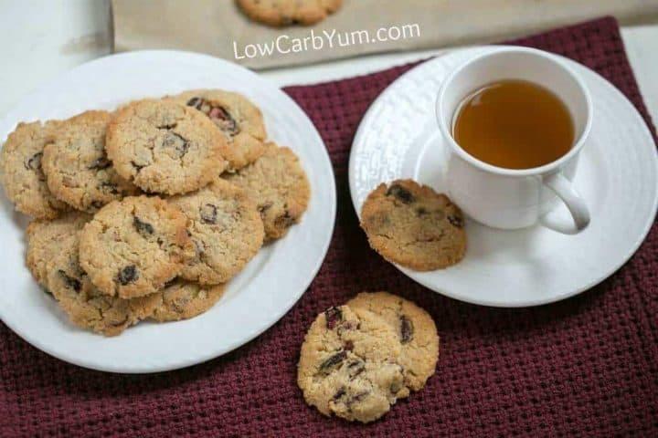 Almond flour cranberry walnut cookies