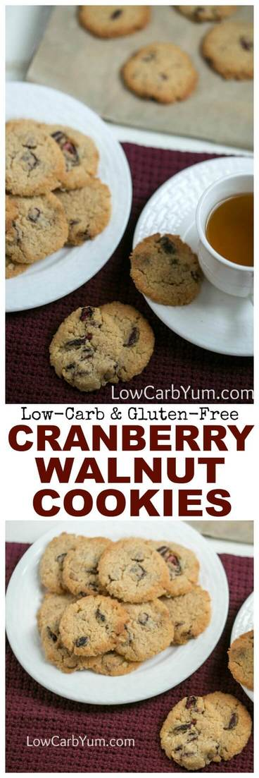 Crisp buttery cranberry walnut cookies with a hint of cinnamon. They are sure to become a favorite low carb cookie. And, they're gluten free too! | LowCarbYum.com