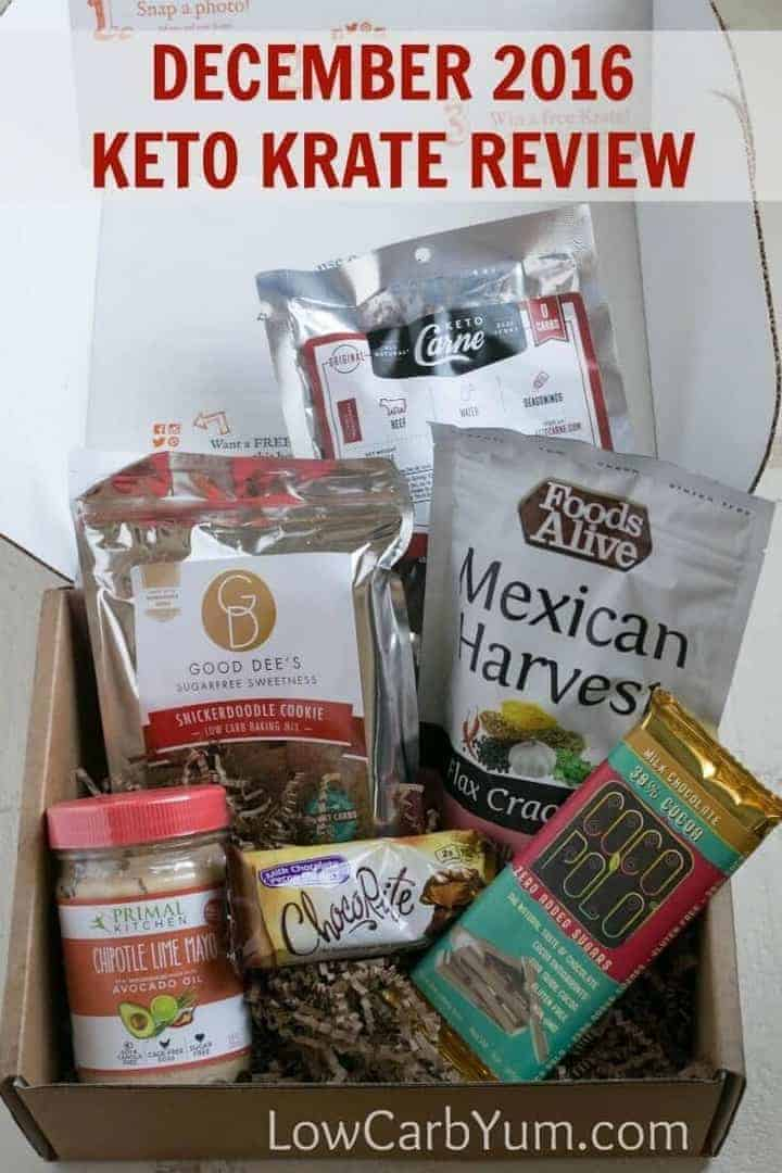Every month, I have low carb foods and keto snacks delivered right to my door. Just take a look at my goodies I received in my December 2016 Keto Krate box! | LowCarbYum.com