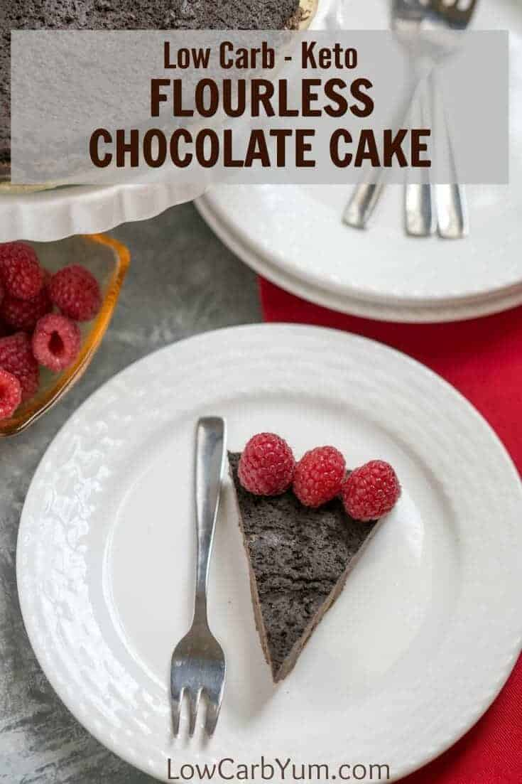 A dense flourless chocolate cake for those following a low carb keto diet. It's a simple dessert that only requires five common ingredients.