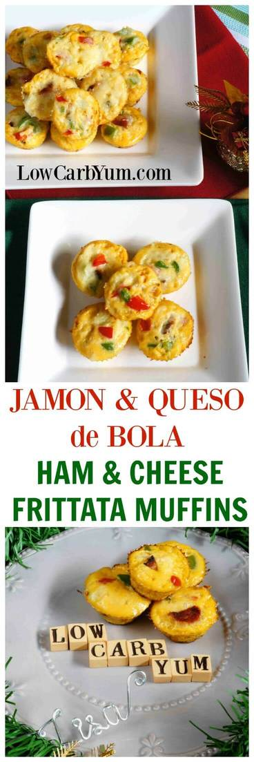 Delicious low carb ham and cheese frittata muffins recipe. It's a perfect way to use up leftover Jamon and Queso de Bolo. | LowCarbYum.com