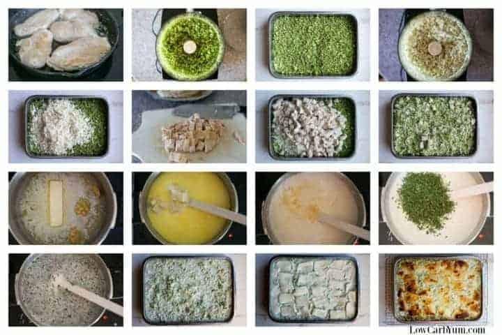 Chicken Alfredo casserole with broccoli