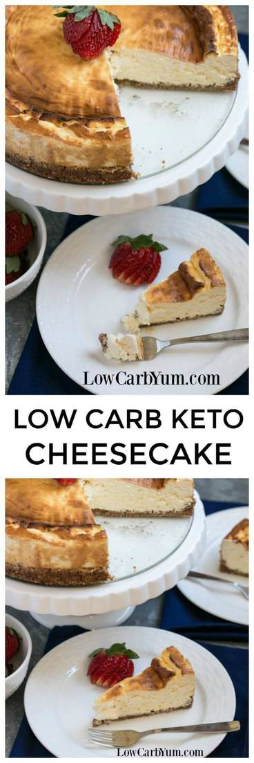 A simple New York style, low carb, gluten free, and keto cheesecake recipe that doesn't require any special ingredients. Eat it plain or dress it up with fresh berries. | LowCarbYum.com