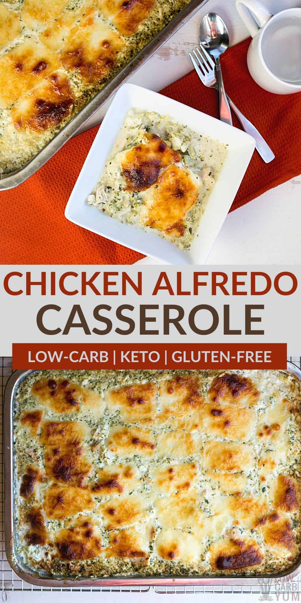 keto chicken alfredo casserole pinterest image