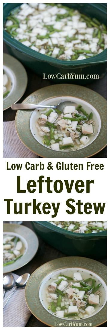 Not sure what to do with all the turkey leftovers? Why not make a yummy leftover turkey stew in the slow cooker crock pot! | LowCarbYum.com
