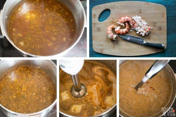 Final steps for making lobster bisque