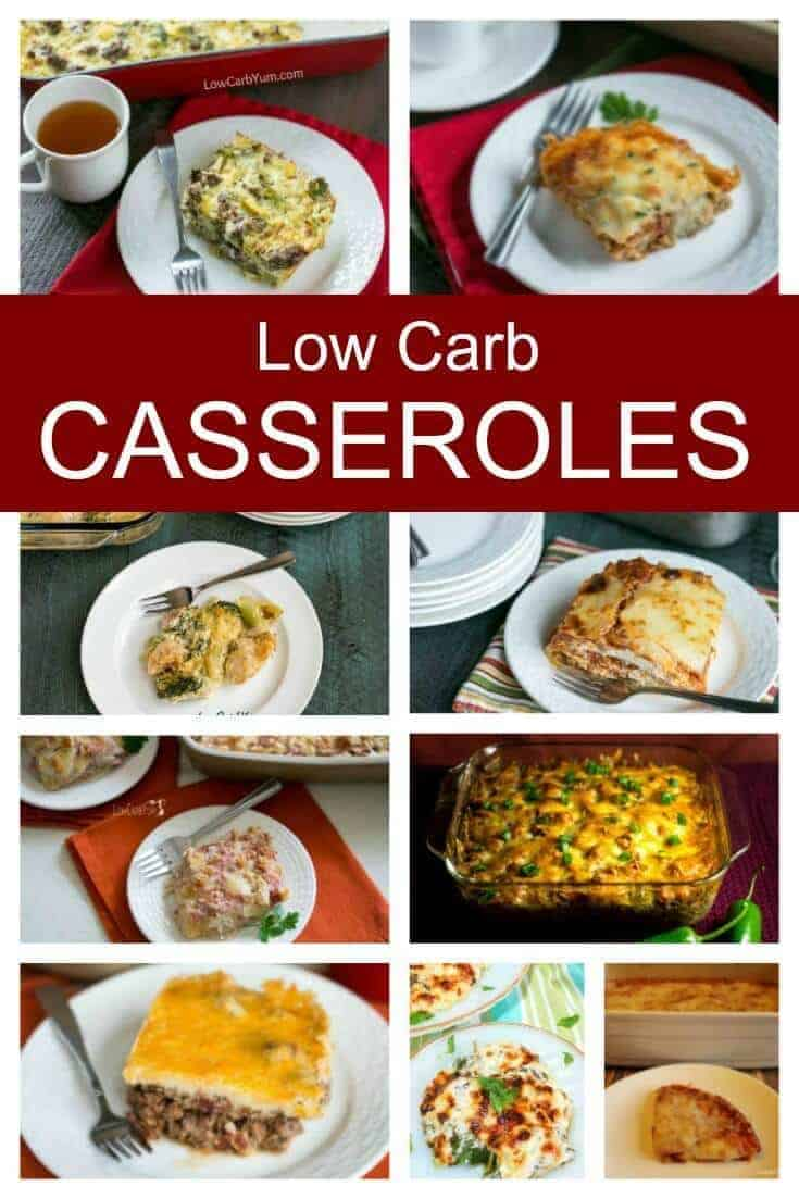 A collection of low carb casseroles that will provide you with several months of meals. You'll love these easy family friendly recipes.   LowCarbYum.com