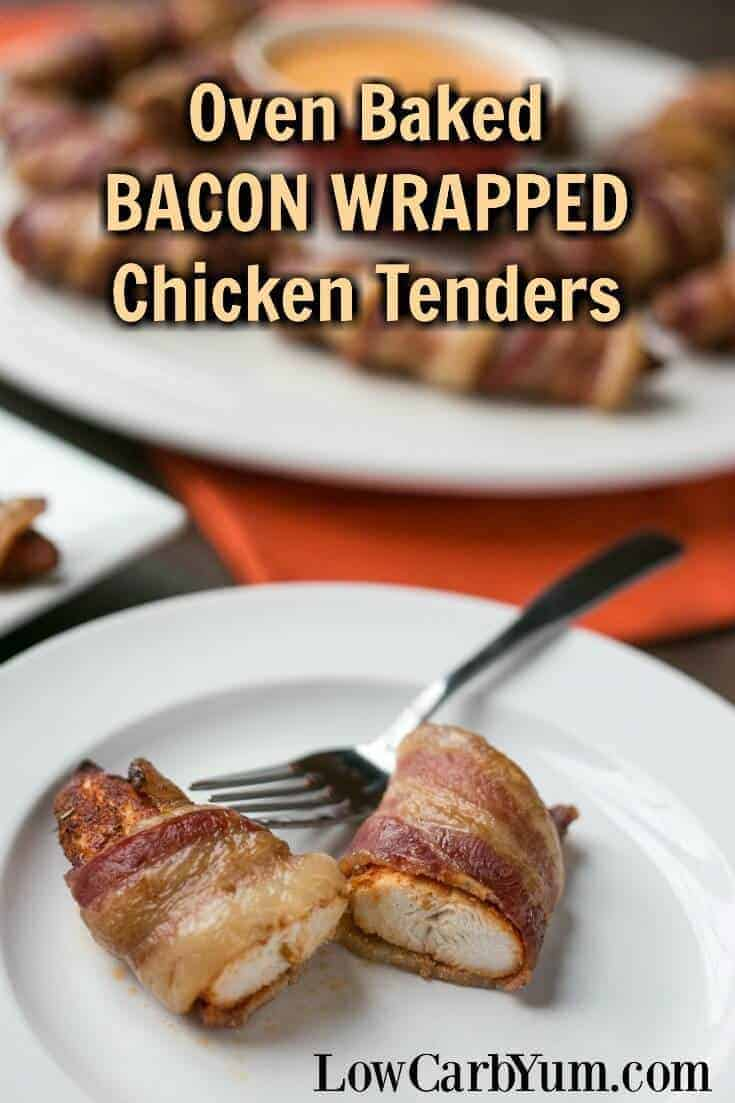 These oven baked bacon wrapped chicken tenders are always a hit as appetizers or main dish. The bacon keeps the meat juicy and provides added flavor. | LowCarbYum.com