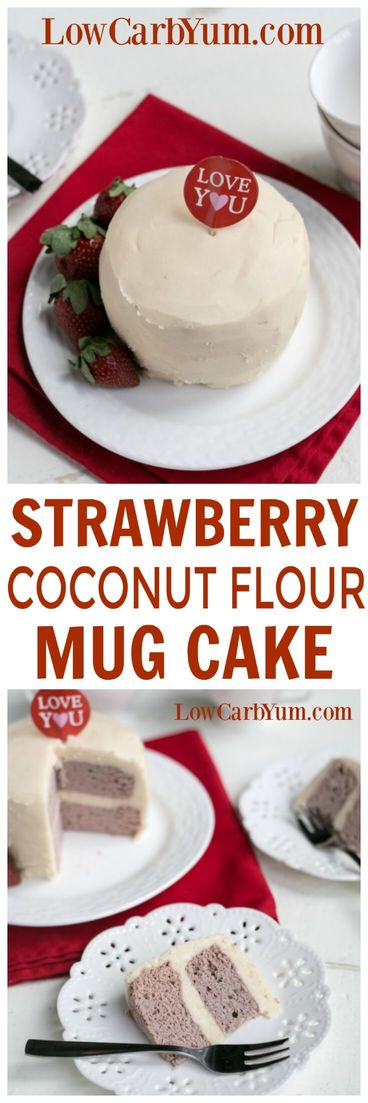 Baking low carb can be quick and easy. Try this strawberry coconut flour mug cake that bakes in only a couple minutes using the microwave. | LowCarbYum.com