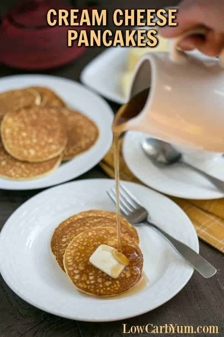 If you're on a keto diet, you'll love this low carb cream cheese pancakes recipe. It can help you get through induction or weight loss phase. | LowCarbYum.com