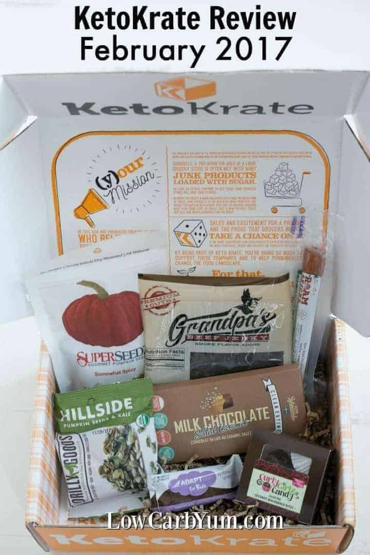Interested in having low carb goodies shipped to your door each month? Check out the products featured in the February 2017 Keto Krate review box.