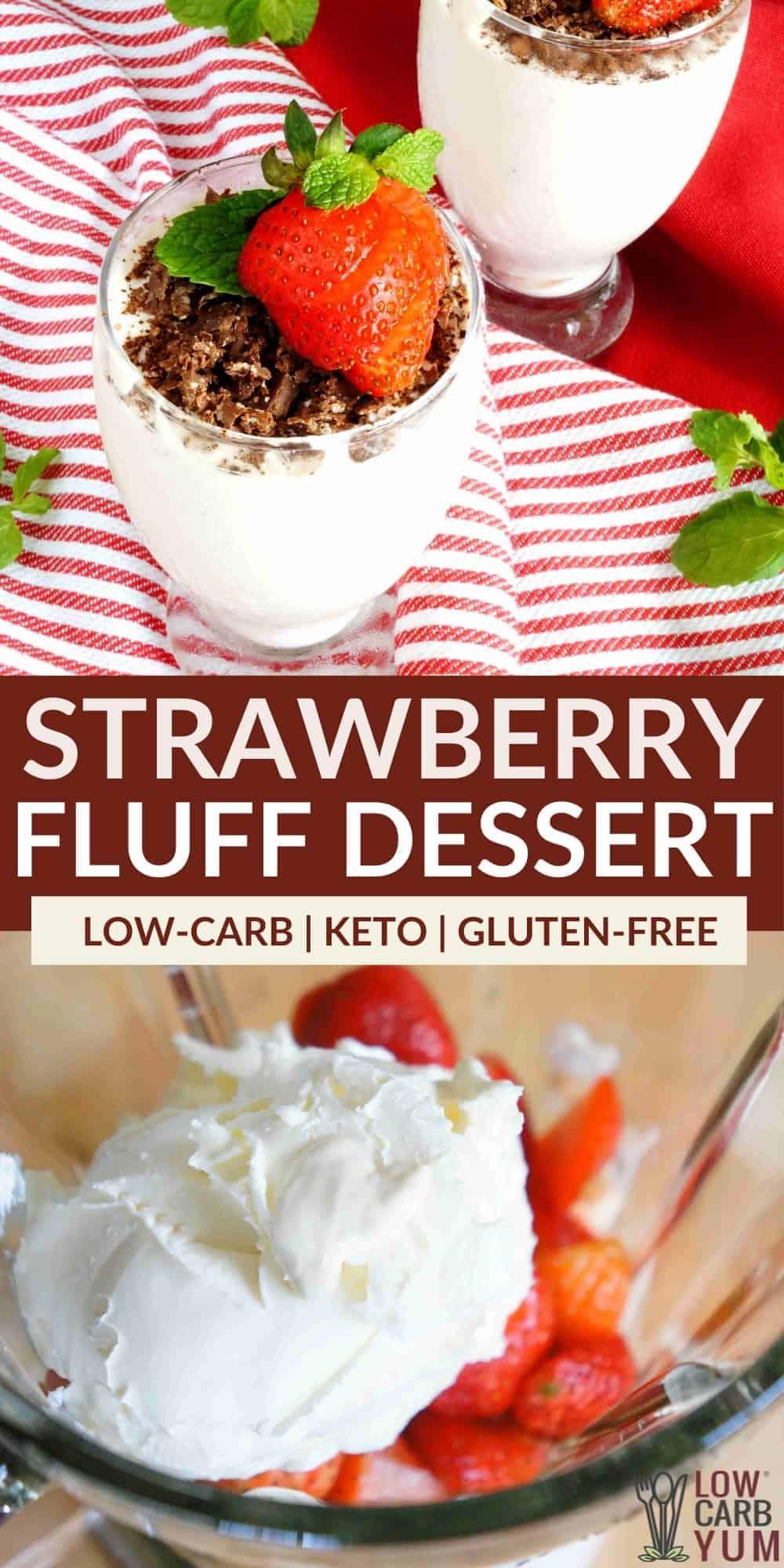 keto strawberry fluff dessert pinterest image
