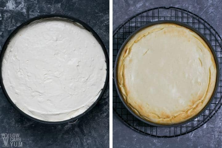 Before and after baking the low carb cheesecake