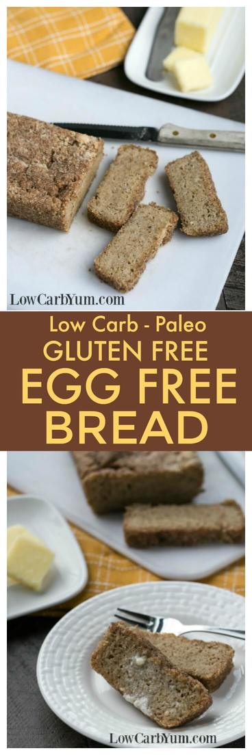 Having trouble finding a low carb bread without eggs? Here's a paleo friendly gluten free egg free bread with psyllium that's also low in carbs! | LowCarbYum.com