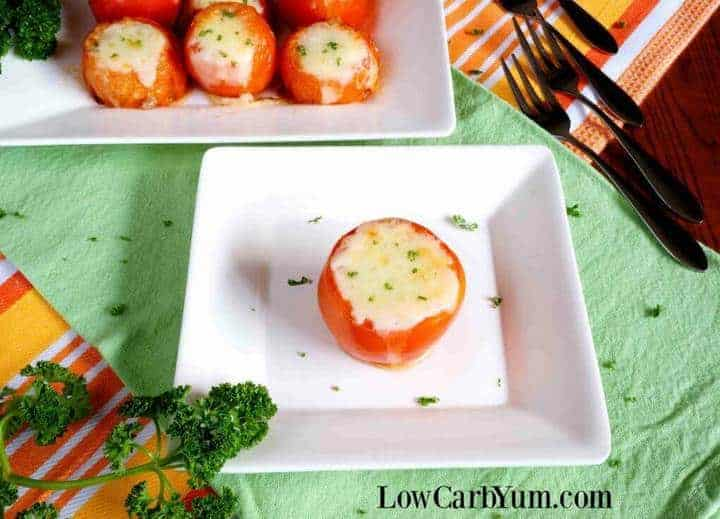 Stuffed tomato recipe on plate