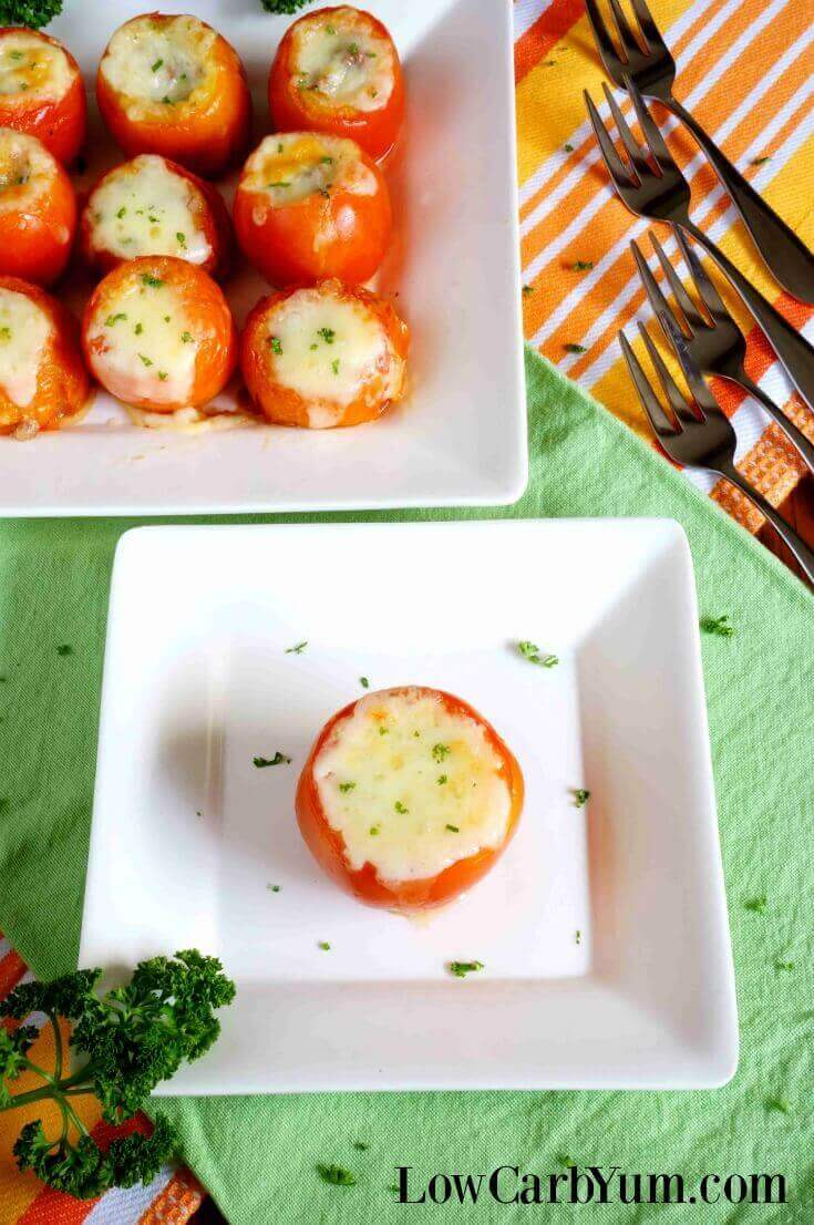 Unsure what to do with large summer garden crop? These easy stuffed tomatoes with meat and cheese are always a hit with family and friends.