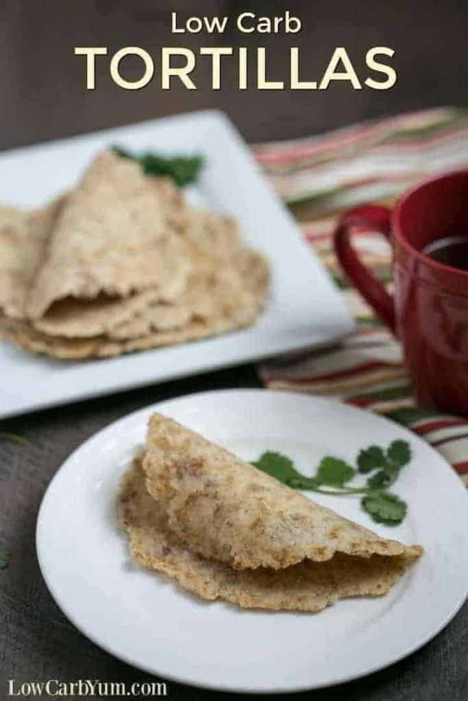 low carb tortillas on white plates