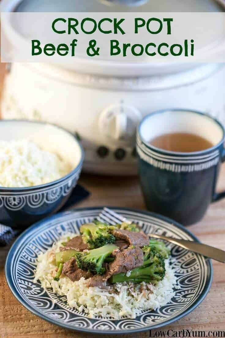 crock pot beef and broccoli in slow cooker and on plate