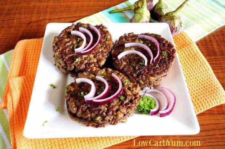 Eggplant burgers on plate