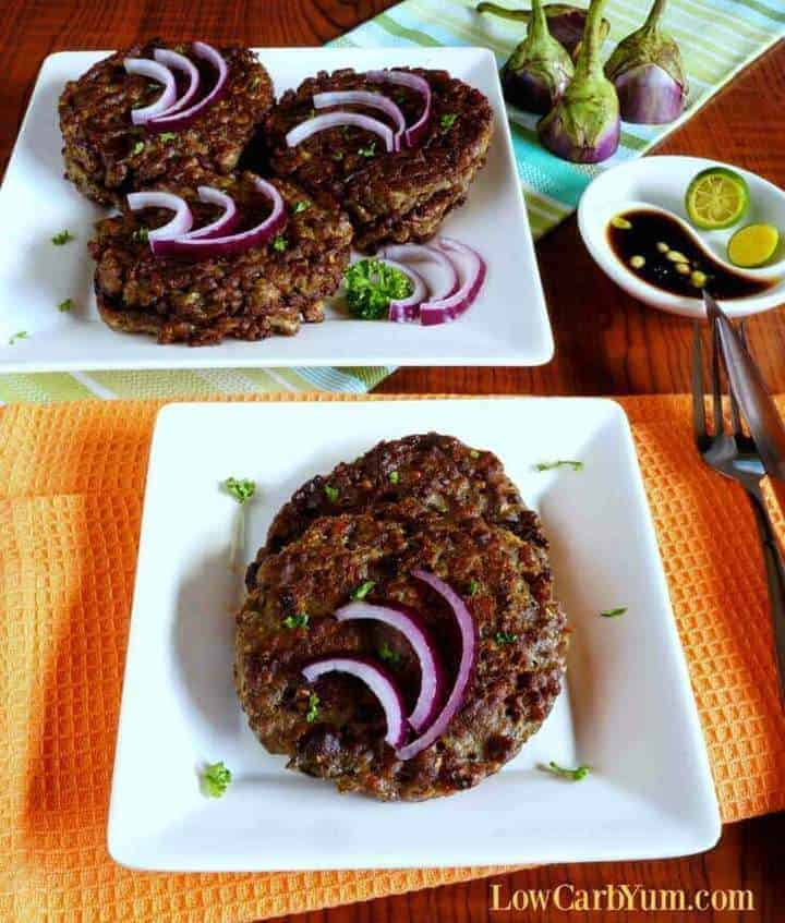 Eggplant burger recipe pin image no text