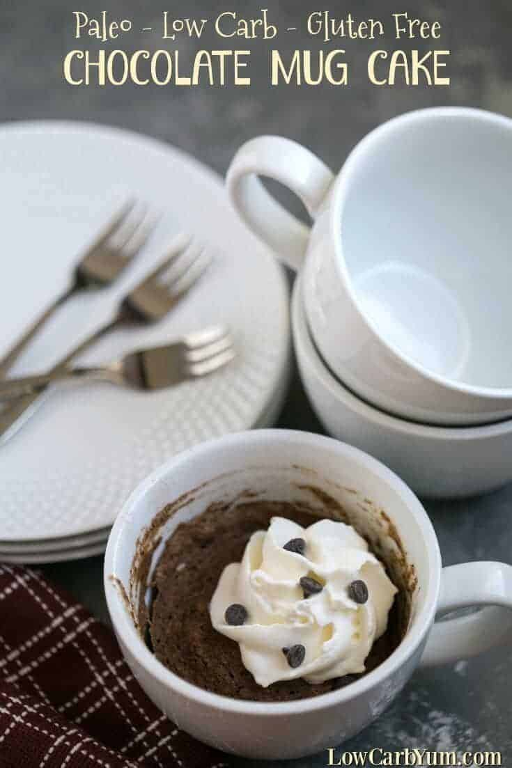 Want a quick low carb snack? It only takes two minutes to whip up a gluten free chocolate mug cake from scratch. So give it a try!