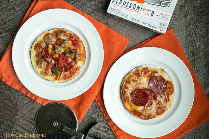 Real Good low carb frozen pizza on plates