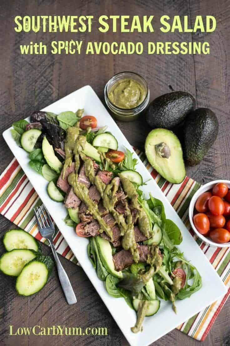 Make yourself a healthy and delicious Southwest steak salad with spicy avocado dressing. It's the perfect way to eat a well rounded low carb meal. | LowCarbYum.com