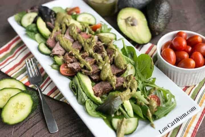 Southwest steak salad with spicy avocado dressing