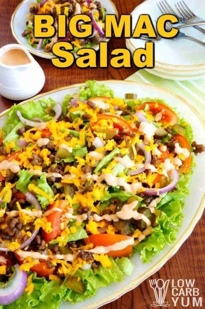 Low carb hamburger Big Mac salad cover