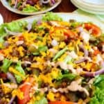 Low carb hamburger Big Mac salad featured