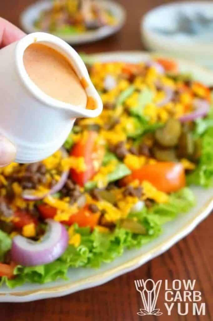 Low carb hamburger Big Mac salad dressing