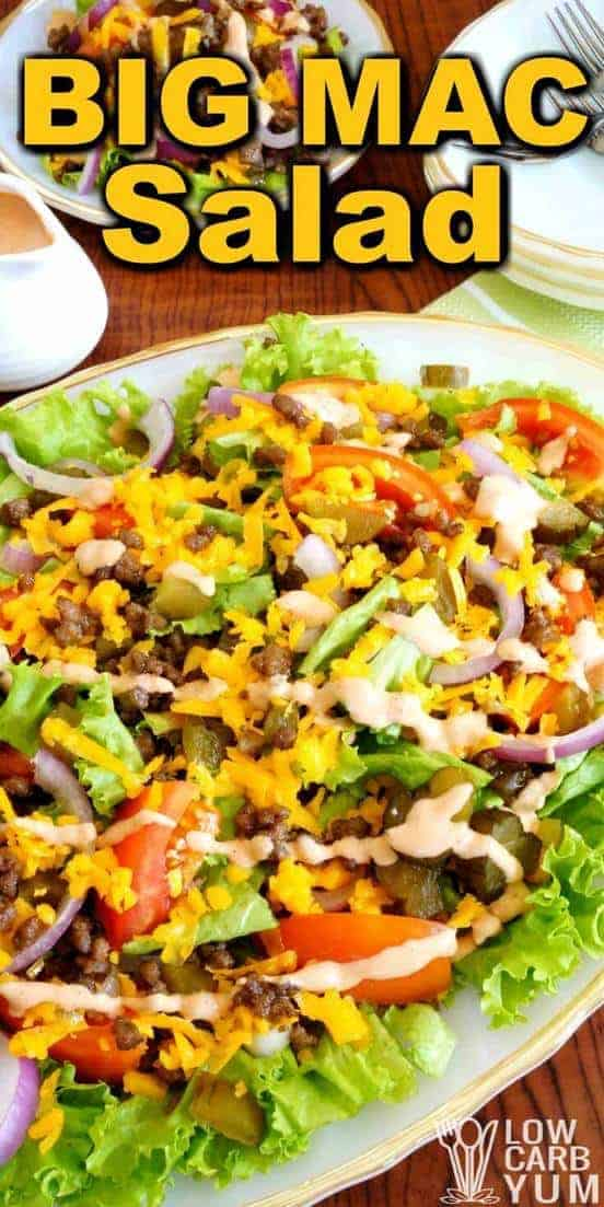 Try this Big Mac salad when you're in the mood for one of the famous fast food burgers. It's easy to assemble this low carb hamburger salad at home. | LowCarbYum.com