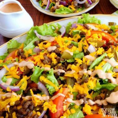 Low carb hamburger Big Mac salad square