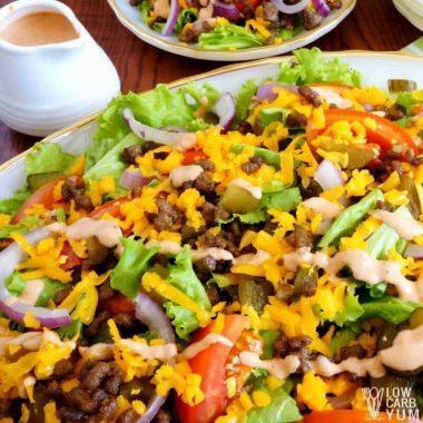 Low carb hamburger Big Mac salad square
