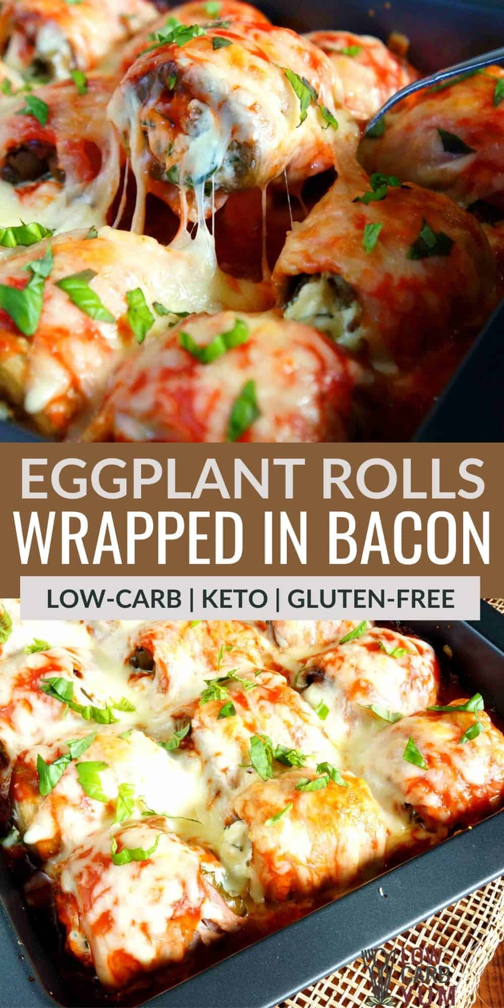 eggplant rolls wrapped in bacon pinterest image